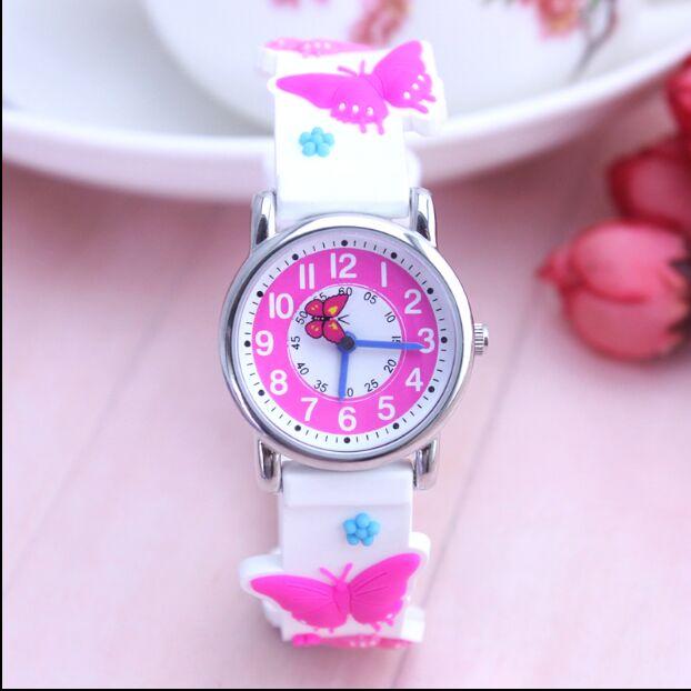 WILLIS 3D Mini Butterfly Design Analog Band Little Boys Girls Children Wrist Kids Watches,Waterproof