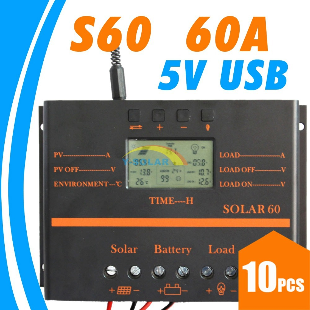 10pcs 60A Solar Controller PV panel Battery Charge Controller 12V 24V Solar system Home indoor use