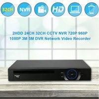 Hiseeu 2HDD 32CH CCTV NVR 720P 960P 1080P 3M 5M DVR Network Video Recorder H 264