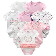 Ubranka dla dzieci 8 sztuk zestaw bawełna noworodka chłopiec śpioszki dziewczęce 2019 lato z krótkim rękawem odzież dla niemowląt zwierząt dziecko piżama roupas de bebe tanie tanio Pajacyki COTTON Unisex Przycisk zadaszone O-neck romper Pasuje prawda na wymiar weź swój normalny rozmiar Fetchmous baby