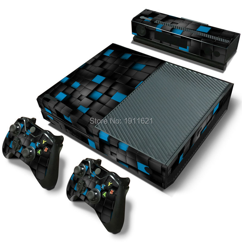 Custom for Microsoft XBOX One console Vinyl Sticker Decal + 2 Controller Skins sticker for x box one console