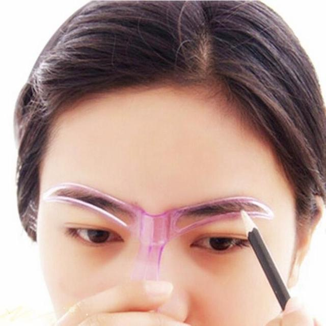 Eyebrow stencils shaping grooming eye brow make up template reusable design 2