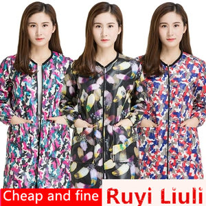 Delantal impermeable de moda Coreana de invierno, chaqueta de plumón de manga larga, ropa de trabajo para mujer adulta, bonita cocina