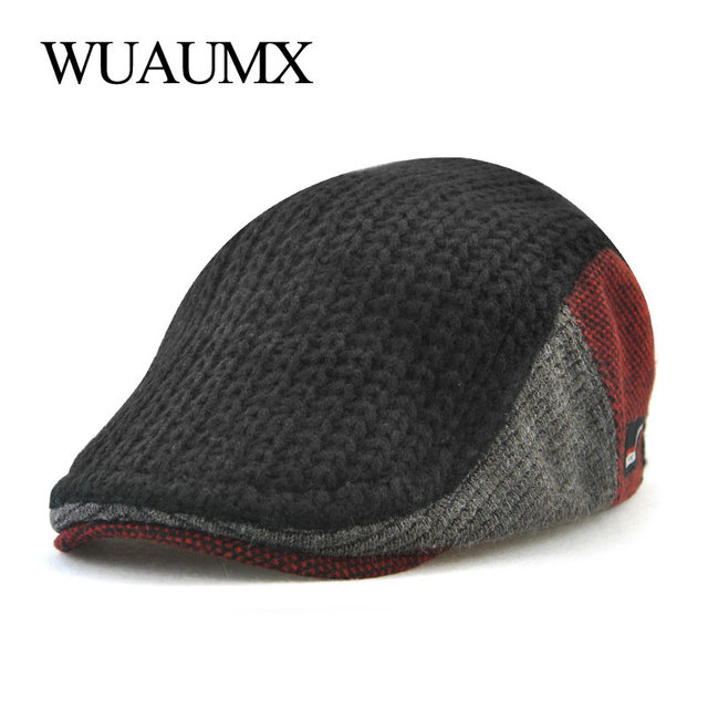 6ace0ca2ac0bf Wuaumx New Unisex Autumn Winter Beret Buckle Hat For Men Women Solid Leisure  Wool Warmer Knitted