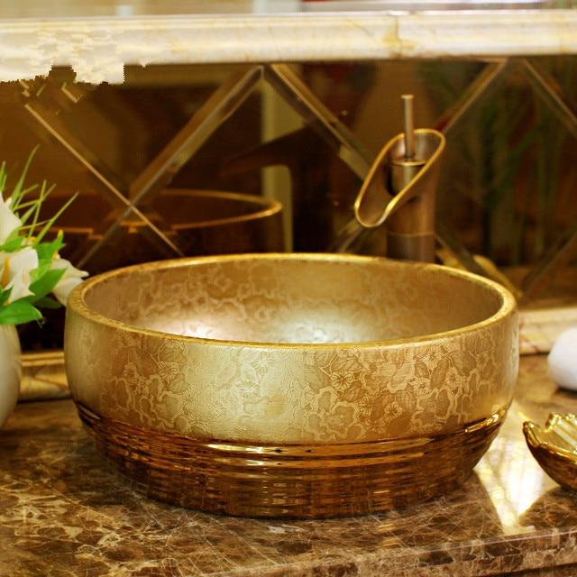 US $277.0 |Gold Europa Vintage Style Art waschbecken Keramik Arbeitsplatte  Waschbecken Badezimmer Waschbecken porzellan becken waschbecken in Gold ...