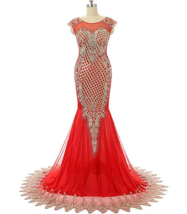 2018 Original Photo Luxury Red   Prom     Dresses     Dress   New Mermaid Sheer Neck Beaded Long Elegant Formal Party Gown Plus Size