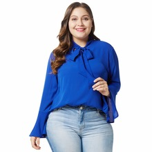 mujer blouses chiffon plus size shirt casual blusas feminine summer de moda bow neck women tops