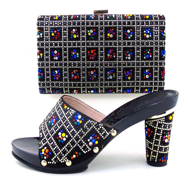 African Women Shoe And Bag To Match High Quality Fashion Wedding Shoes And Matching Bag Set With Stones Black Color TH103