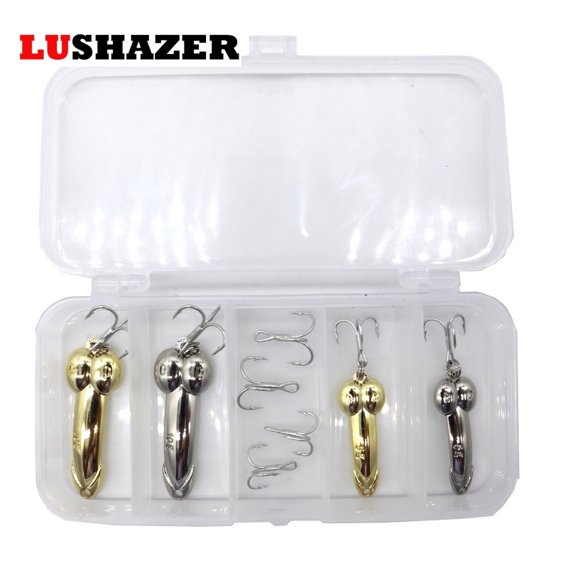 LUSHAZER DD spoon 8pcs/lot fishing bait 5g 10g silver gold spinnerbait metal fishing lure Treble Hook hard lures China free box lushazer dd spoon fishing lure 5g 10g 15g silver gold metal fishing bait spinnerbait treble hook hard lures china free shipping