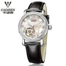 cadisen Brand Woman watches Fashion Ladies Crystal Clock Luxury Women Rhinestone Diamond Watch Leather automatic machinery watch