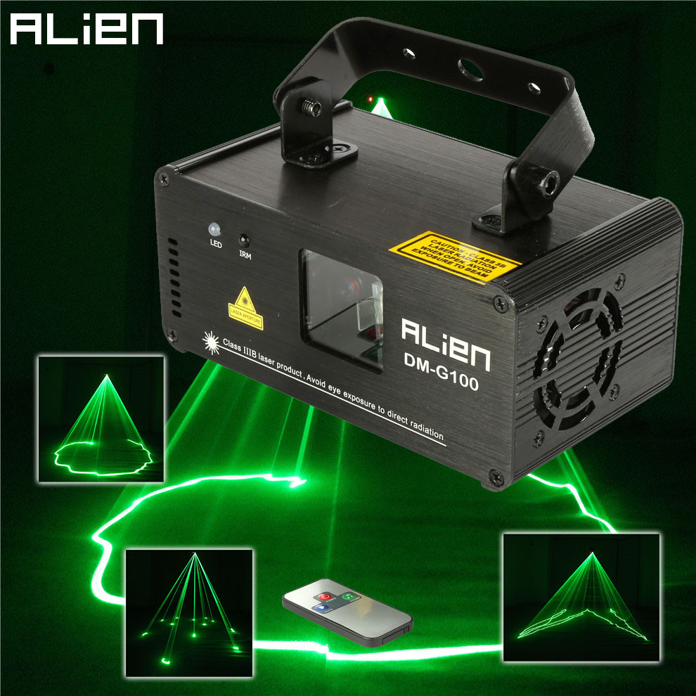 ALIEN DMX 100mW Green Laser Stage Lighting Scanner Effcet Xmas Bar Dance Party Show Light DJ Disco Laser Projector Lights