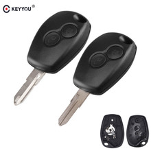 KEYYOU 2 Button Remote Car Key Case Shell For Renault Megane Modus Espace Laguna Duster Logan Clio Kango For NISSAN ALMERA