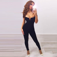 new women sexy busty slash off the shoulder little v long bandage jumpsuit skinny bodysuit dropshipping wholesale MD680