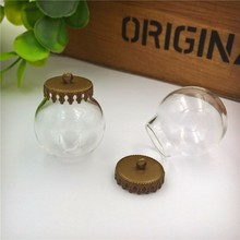 NEW 50sets/lot 25x15mm glass globe with small crown base finding set vial pendant bottle