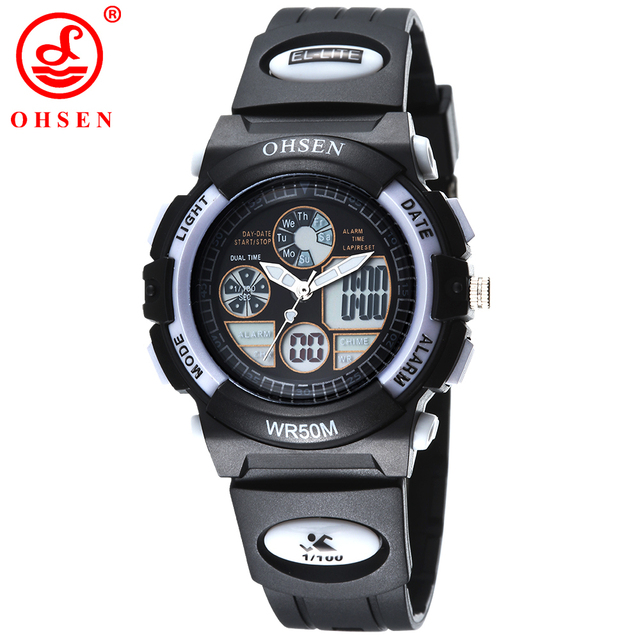 OHSEN Children Watches Dual Time LED Digital Quartz Multifunctional 50M Waterproof Swim Dive Student Clock Sports Wrist Watch
