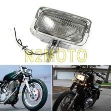 Chrome Винтаж мотоцикл квадратных фар Ретро спереди лампы Универсальный для Кафе Racer Bobber Триумф Cruiser