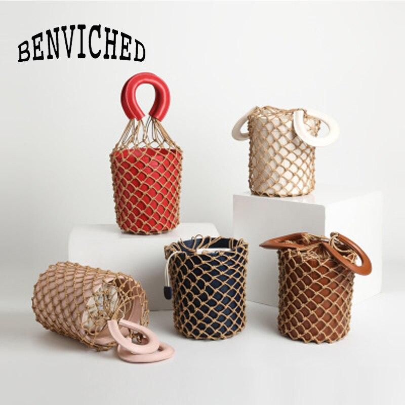 BENVICHED 2019 spring and summer net bag pure color weave bag lady bucket handbag c042 weave drawstring bucket bag