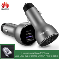 HUAWEI Car Fast Charger Original P10 Plus mate 9 10 Pro SuperCharge Quick Charging Adapter USB C 3.1 Type c Cable 5A Type C