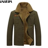 LIESA Men Winter Military Jackets Coats British Style Fashion Thick Warm Fleece Lined Soft Windproof Man