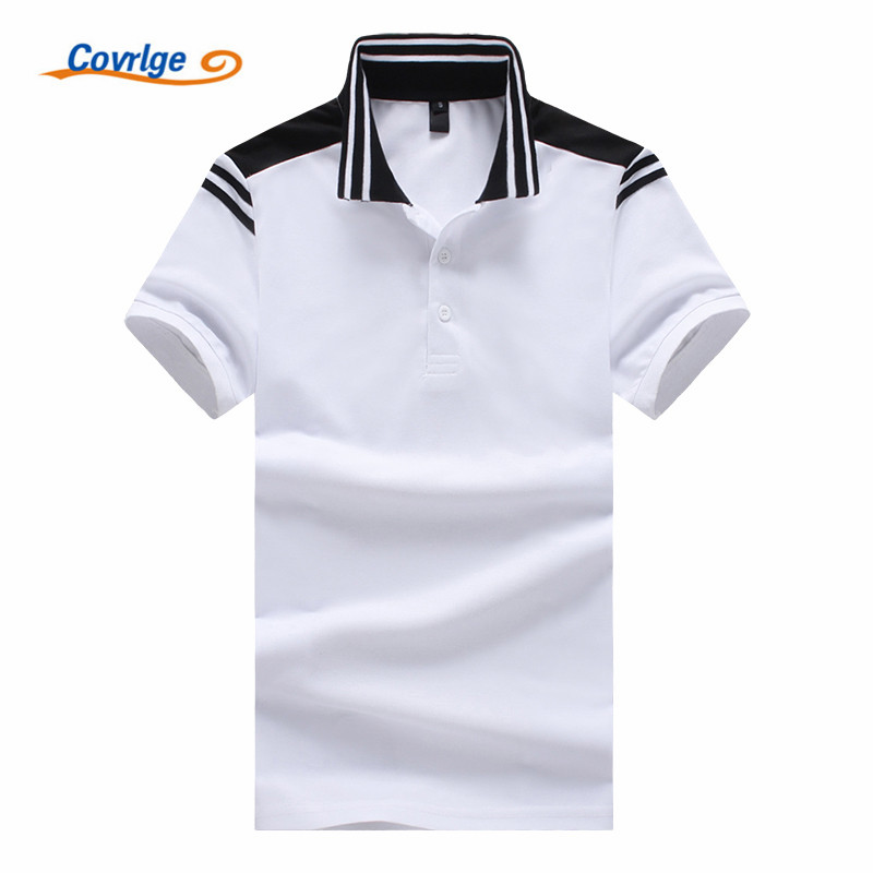 Covrlge Brand 2019 New Men Patchwork PoloShirt Short Sleeve Contrast Color High Quality Mens Casual Tee Shirt MTP094
