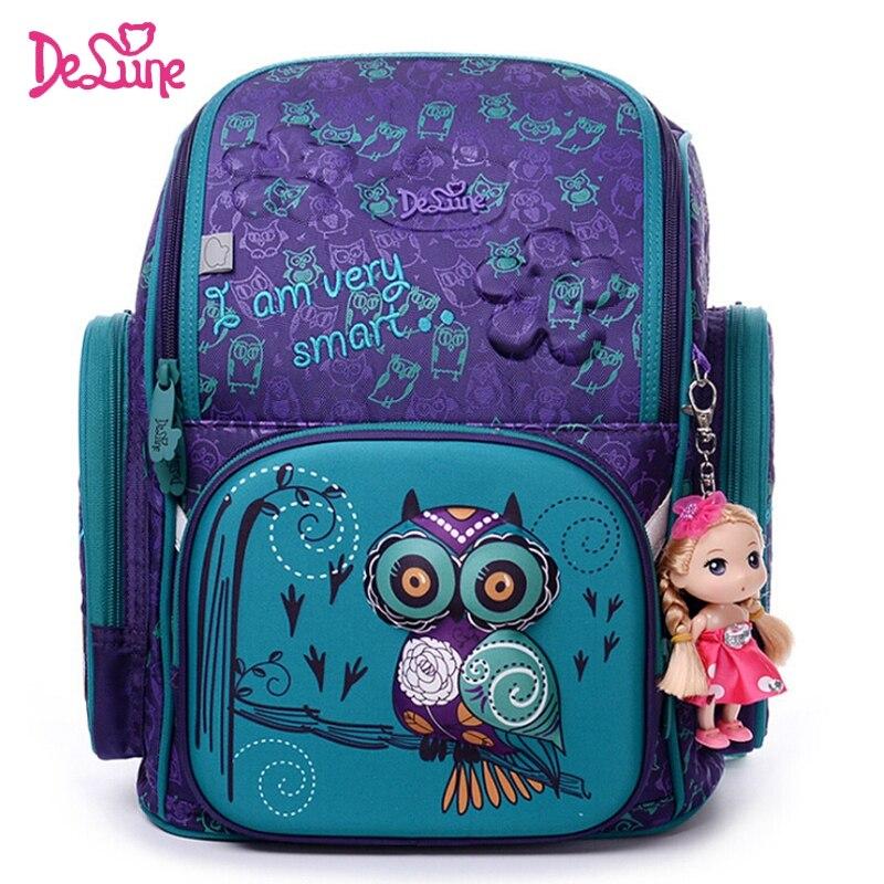 Качественные брендовые школьные сумки для девочек 3d Медведь печати школьный ранец детск ...