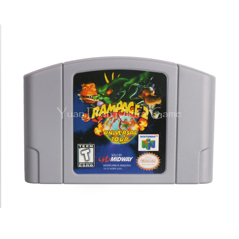Cartucho de juego de nintendo n64 video consola tarjeta rampage 2 universal gira