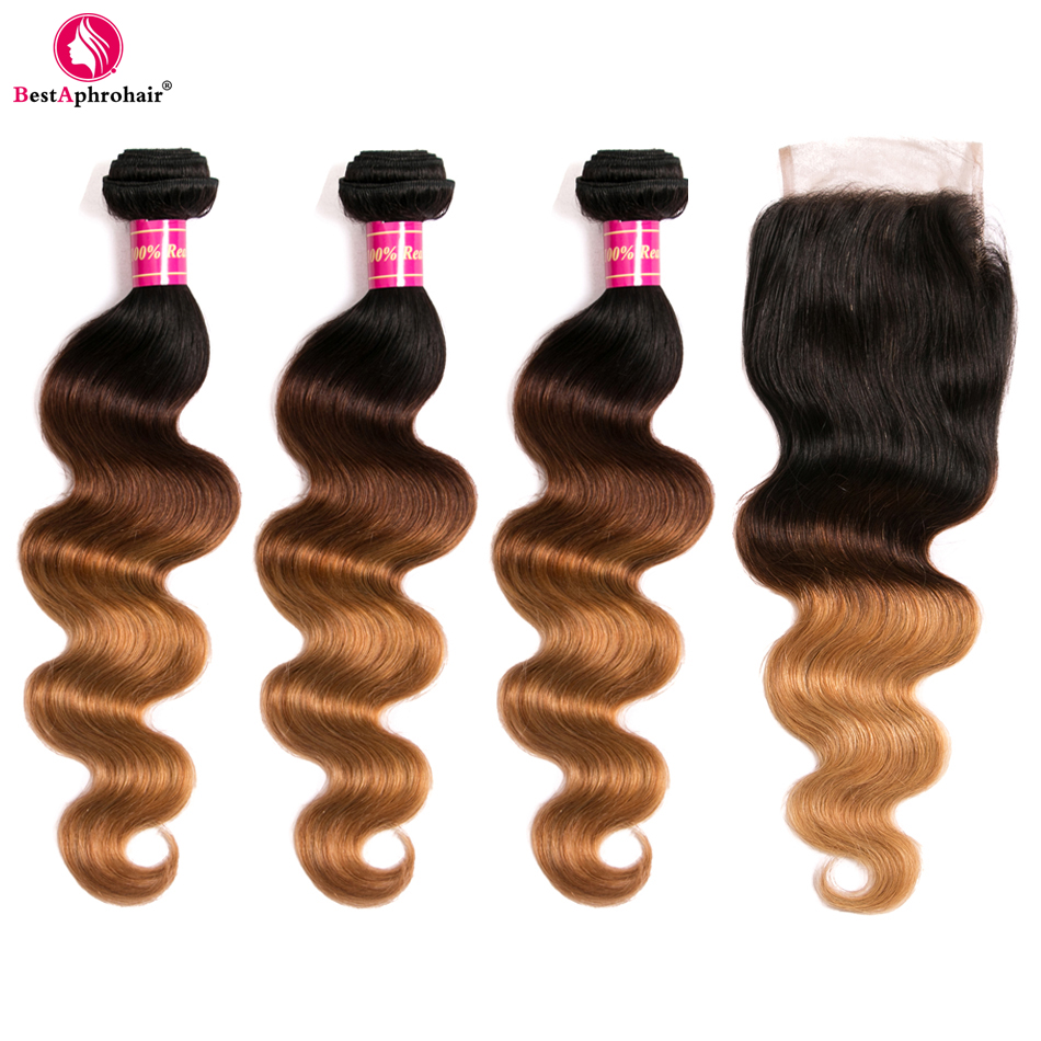 Aphro T1b 4 27 Colored Three Tone Non Remy Hair Bundles With Closure 4pcs Lot Brazilian