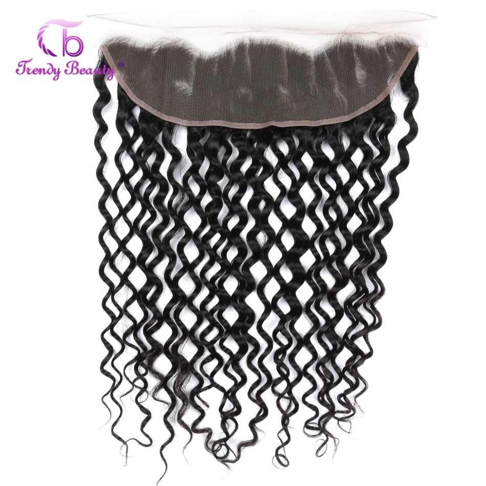 Brazylijski Water Wave Pre oskubane koronka Frontal zamknięcie z wiązki ludzkie włosy wyplata nie Remy 8-28 cali Trendy piękno włosów