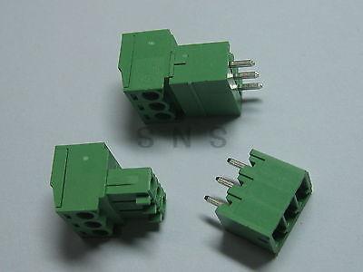 250 pcs Screw Terminal Block Connector 3.81mm 3 pin/way Green Pluggable Type 20078 2 pin pcb screw terminal block connectors green 15 piece pack