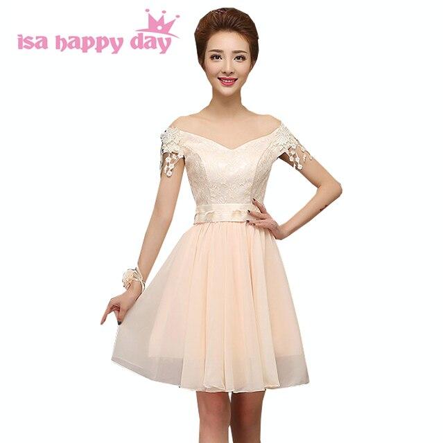 d645df370816e vestidos de festa chiffon 2017 sexy design boat neck lace flowers prom  short dress formal dresses champagne colored H3556