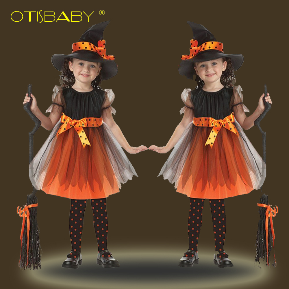 4PCS Fantasia Halloween Kids Witch Dress for Girls Cosplay Costume Christmas Baby Girl Clothing Children Infant New Year Clothes image