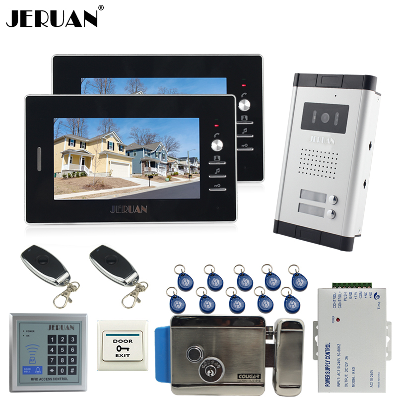 JERUAN 7 inch LCD video door phone 2 black Monitor 1 HD Camera Apartment 1V2 Doorbell+RFID Access Control+FREE SHIPPING jeruan apartment 4 3 video door phone intercom system kit 2 monitor hd camera rfid entry access control 2 remote control