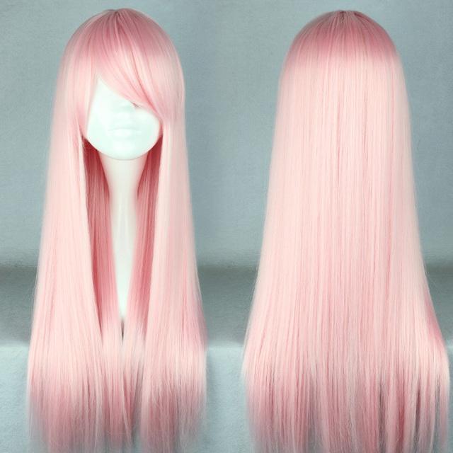 MCOSER Frete Grátis 70 cm Longo Rosa Claro peruca lolita Bonito Anime Peruca