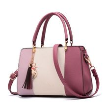 High Quality Women Handbag Tassel Color Collision Leather Ladies Tote Crossbody Shoulder Bag Purse Satchel