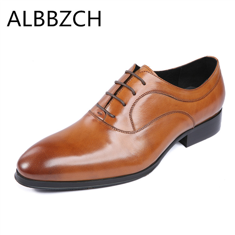 Shoes Formal Shoes Bright Genuine Leather Men Shoes Oxfords Pointed Toe Lace Up Mens Dress Shoes High Grade Office Work Shoes Black Brown Wedding Shoes Elegant In Smell