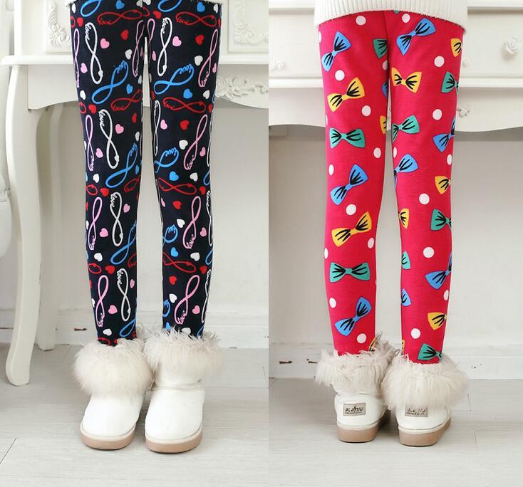 VEENIBEAR Newest Winter Girl Leggings Velvet Thicken Warm Star Print Girl Pants Kids Children Pants Winter Girl Clothing 2-7T 4