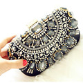 Free Shipping Retro Beaded Evening Bags Handmade Beading Clutches Glass Beads Satin Wedding Bags Shoulder Chain High Quality