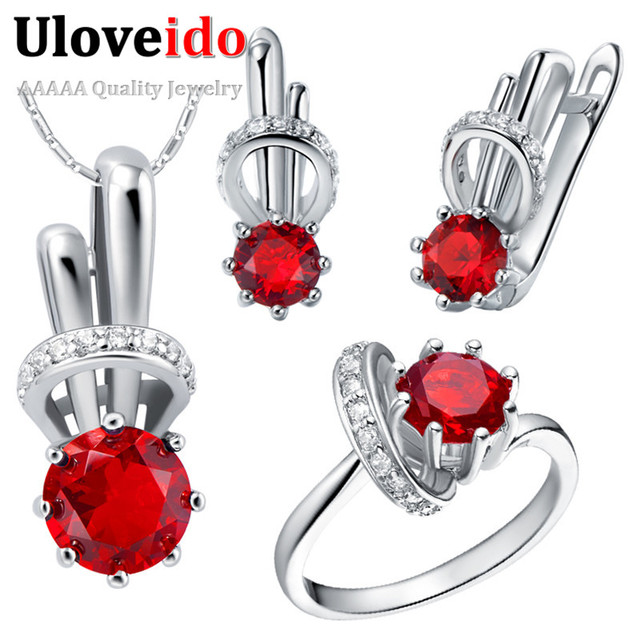Rainbow Wedding Accessories Necklace Jewelry Sets Bridal Jewelry Sets Purple Silver Plated Rings Women Earrings Uloveido T225