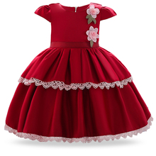 2019 New Summer Kids Clothes Baby Red Dress Infant Wedding Dresses For Girls Princess First Birthday Girl Party Dress 1 2 Years