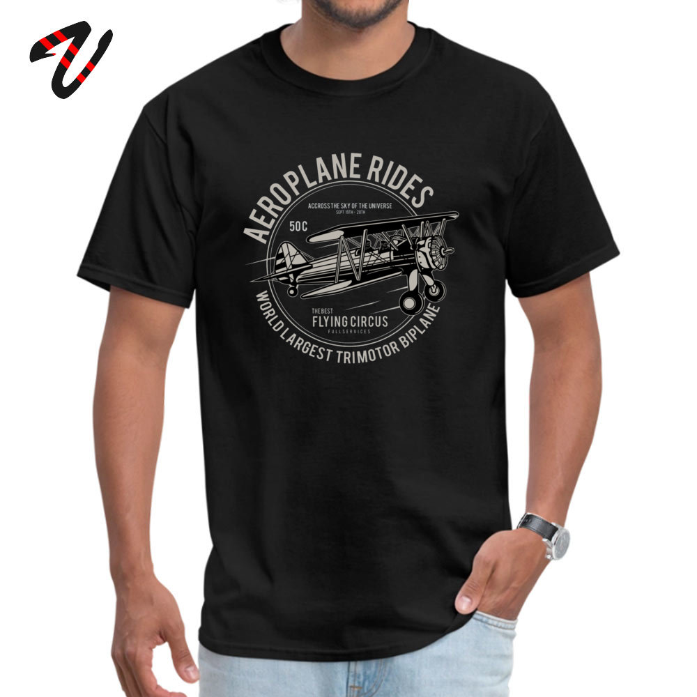 Casual cosie Short Sleeve Tops T Shirt April FOOL DAY Crew Neck 100% Cotton Men's T Shirts cosie Top T-shirts Plain Airplane Rides The Best Flying Circus 3045 black