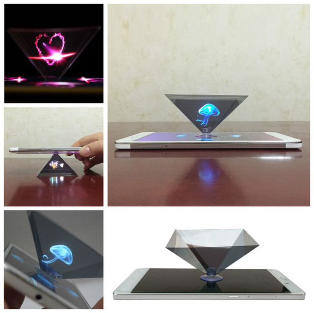 dropshipping 3D Hologram Pyramid Display Projector Video Stand Universal For Smart Mobile Phone SD998 1