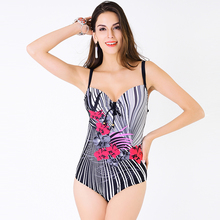 Vintage One-Piece Swimwear Women Sexy Push Up Printing Swimsuit Padded Plus Size Ladies Slim Bottom Bathing Suit Maillot De Bain