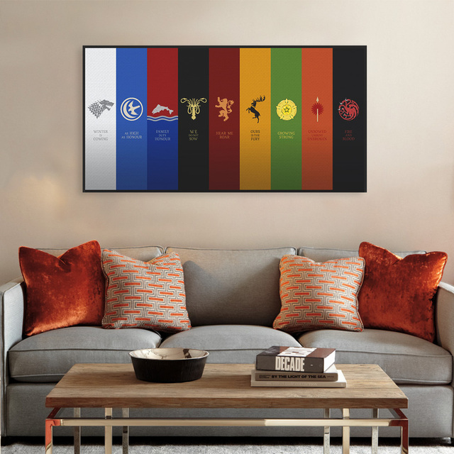 Game Of Thrones Logo Flag Movie TV Animals Canvas Art Print Poster Vintage Wall Picture Boy Living Room Decor Painting No Frame