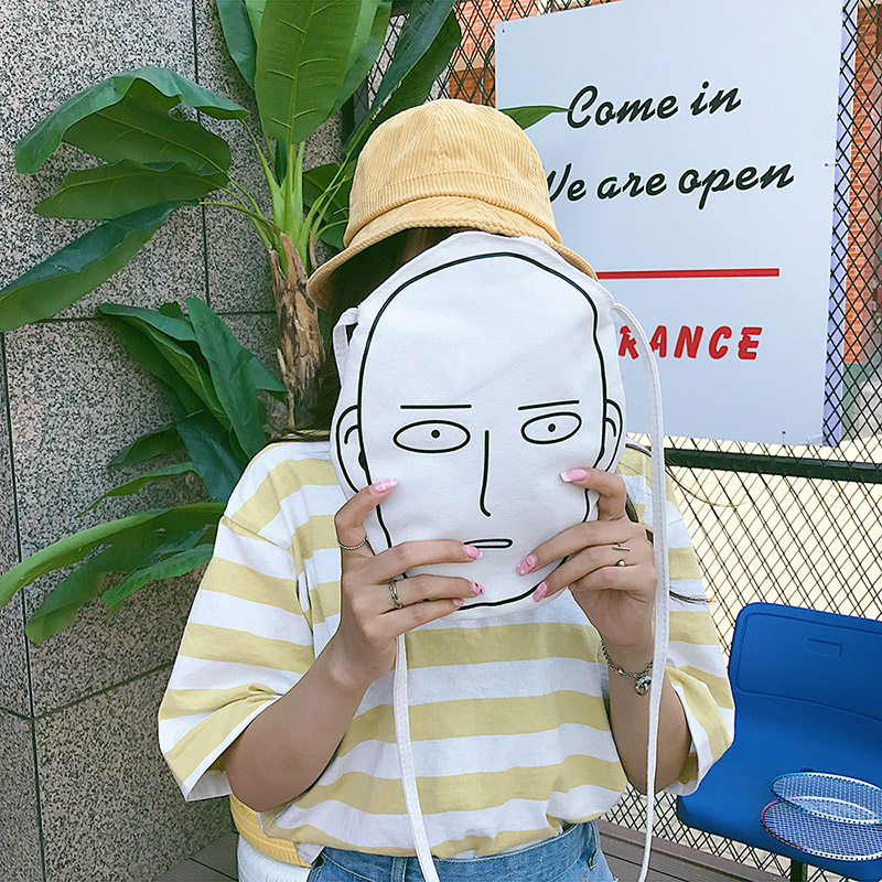 4 Style Cartoon Manga Emoji Face/Dog/Clown Print Small Canvas Shoulder Bag Messenger Crossbody Ulzzang Student INS