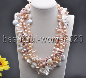 Z7750 5Strands Pink White baroque & coin & biwa & Rice FW pearl necklace 19inch