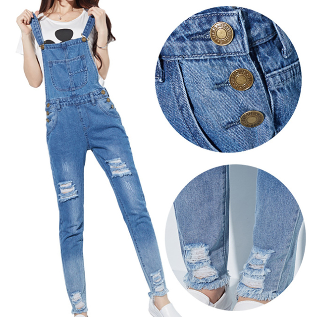 3 Color Women Jumpsuits Hole Pockets Girls Jeans Rompers Ladies