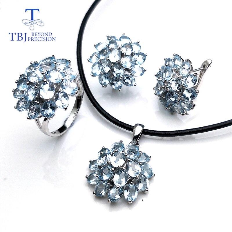 TBJ, ensemble de bijoux romantique en topaze bleue naturelle en argent sterling 925 meilleur anneau pendentif boucle d'oreille pour les femmes vêtements de fête quotidiens