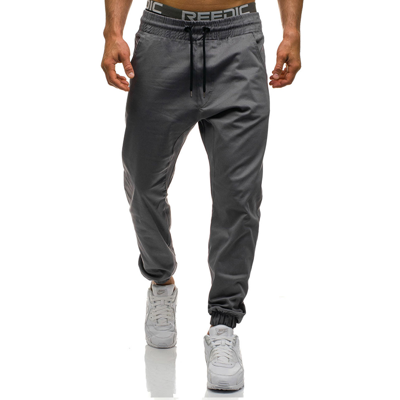 Brand Mens Pants  2017 New Fashion Slim Solid Color Elasticity Men Casual Pants Man Trousers Designer Mens Joggers M-3XL  ...