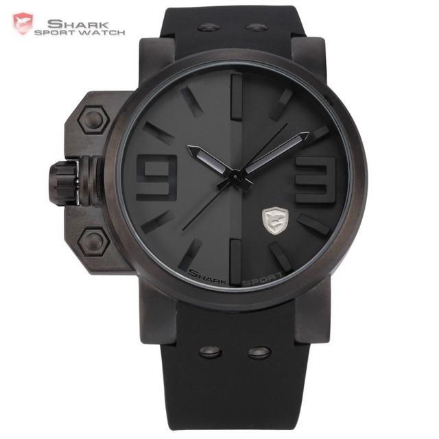 Tubarão Relógio Do Esporte Homens Marca Relojes Hombre 3D Logotipo Esquerda Botão Alça de Silicone Relógio Masculino Homens Casuais Quartzo Militar-relógio/SH171