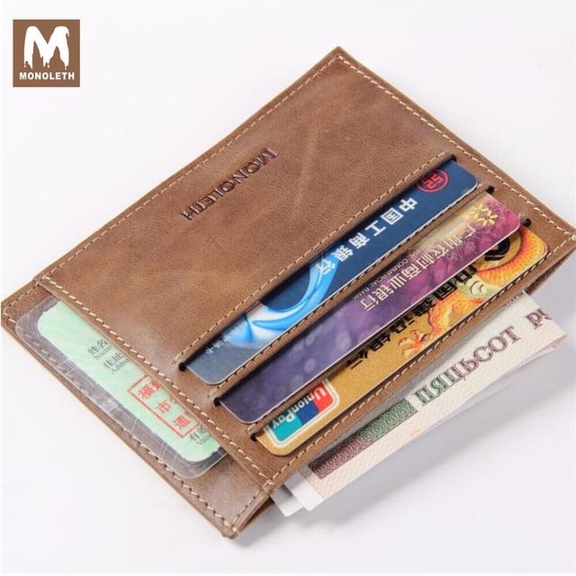 MONOLETH High Quality Genuine Leather Brand credit card holder wallet for men mini wallet Vintage Designer Male